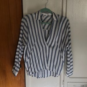Lush striped collar long sleeve
